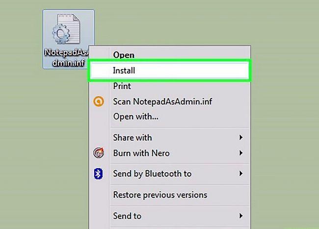 Titel afbeelding Add a Open with Notepad As Administrator & quot; Snelkoppeling naar het contextmenu in Windows 7 en Windows Vista Stap 4