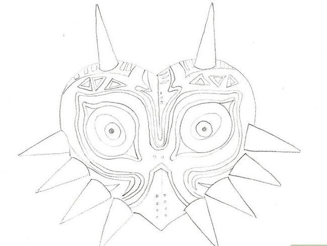 Titel afbeelding Draw Majora`s Mask from the Legend of Zelda Step 7