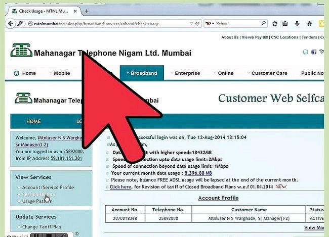 Titel afbeelding Check Internet Data Usage in MTNL Step 7